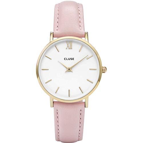 Cluse CL30020 - Reloj Analógico Automático para Mujer con Correa de Cuero, Rosa