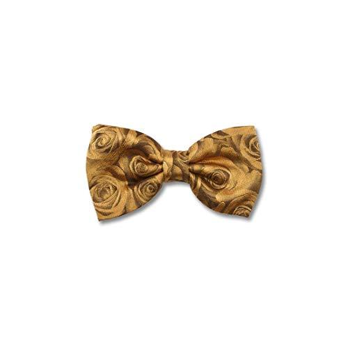 Robert Charles. Noeud papillon noué. Roses, Soie. Jaune, Motifs. Fabriqué en Italie.