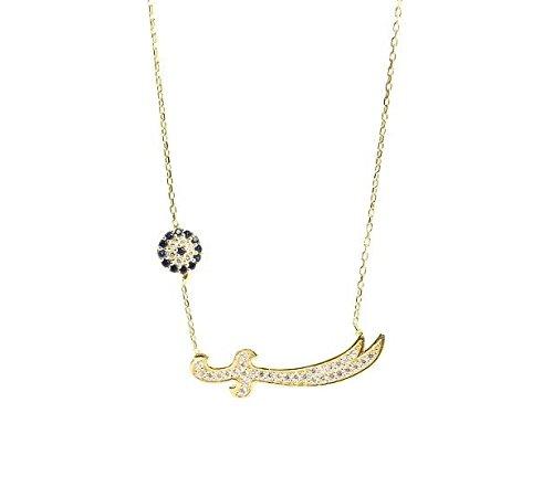 Remi Bijou 925 Silber Halskette Kette + Anhänger 'Zülfikar' oder 'Schwert' - Gold Farbe Zirkonia Strass - Nazar Auge - Ali Aleviten