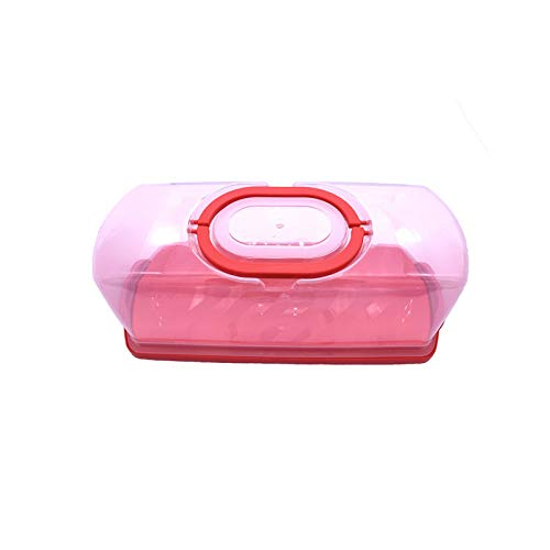 Transparent Cake Container, Portable Plastic Rectangular Bread and Bread Box, Transparent Cover for Storing and Transporting Bread Cakes (Red)
