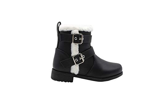 Rampage Girls' Big Kid Slip On Mid High Distressed Winter Boots with Faux Fur Trims and Buckle Straps Black Size 1