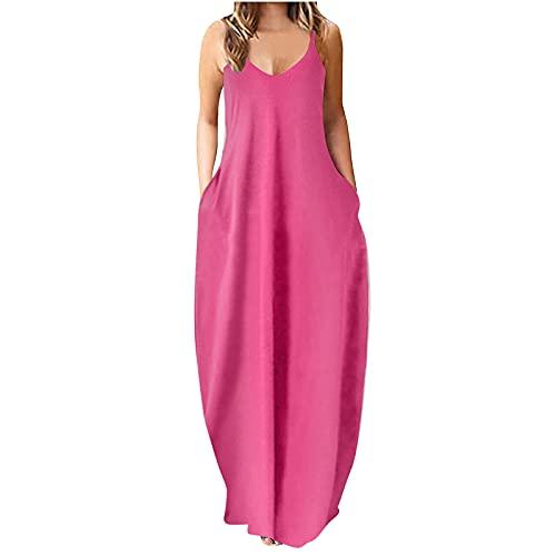 Women Summer Spaghetti Strap Plus Size Cami Maxi Dress Boho Casual Beach Sundress Party Long Dresses with Pocket