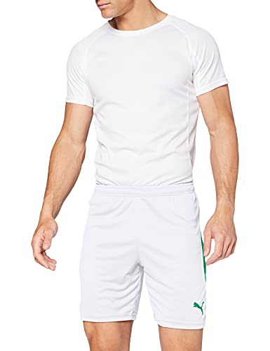 PUMA Liga Shorts Pants, Hombre, White-Pepper Green, S