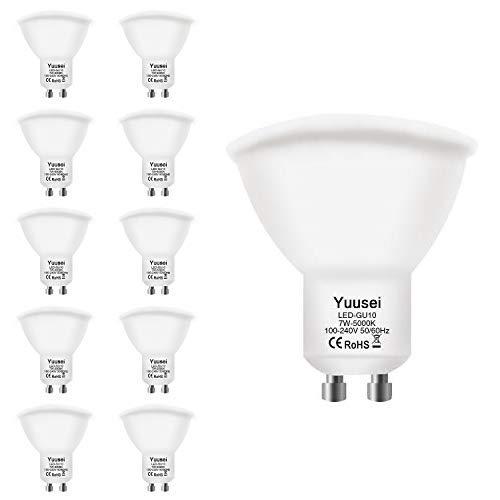 Yuusei Bombillas LED GU10 7W, 5000K 600LM Blanco Frío LED Spot Luz Lámpara Foco, Equivalente 60W Luz Halógena, Ángulo Haz 120º, No Regulable, 10 Piezas