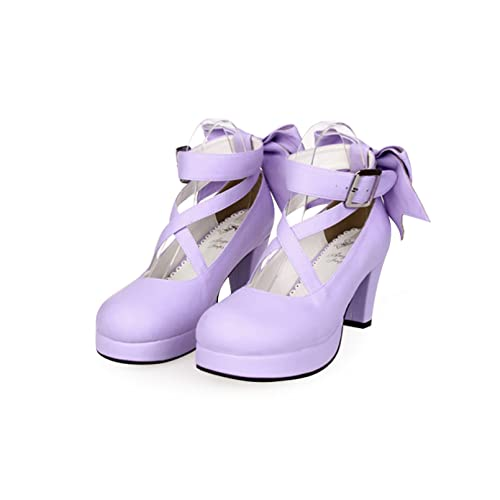 XXDDNN Scarpe da Donna Lolita Scarpe Tonde con Fiocco con Tacco Alto Scarpe da Sera Principessa Lolita