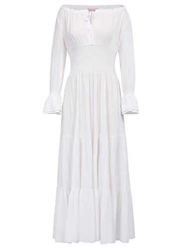 Belle Poque Womens Gypsy Tiered Renaissance Boho Peasant Maxi Dress White Size S