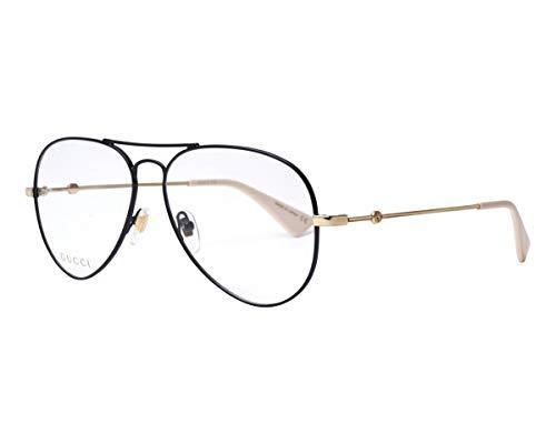 Gucci GG0515O-001-58 Brillengestell, Schwarz/Gold, 57.0 Unisex Adulto