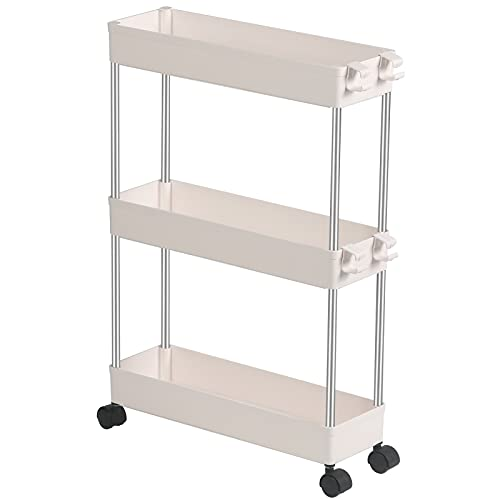 EXILOT Slim Storage Cart, 3 Tier Bathroom Organizers Slide Out Storage Shelves Mobile Shelving Unit Organizer Rolling Utility Cart with Casters Wheels for Bathroom Kitchen Laundry Narrow Places