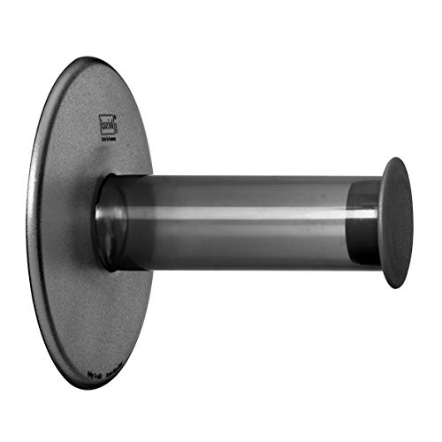 Koziol - Porta Carta igienica WC con Ventosa plug'n Roll, Antracite