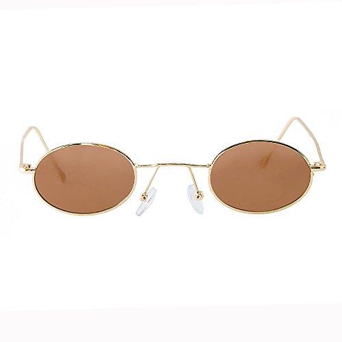 Cikuso Gafas de Sol Mujer Gafas de Sol Polarizadas Uv400 Vintage Ronda Marco Peque?o Estilo Punk Espejo 521 Marrón