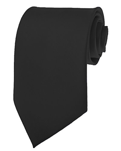 Black New Mens Solid Color Black Ties