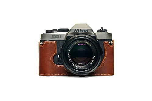 Zakao - Funda para Nikon FM10 (hecha a mano, piel auténtica, con correa de mano), color marrón