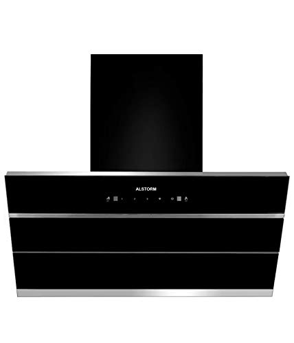 Alstorm Sonet 90 cm 2200 m³/hr Filterless, Auto-Clean with Motion Sensor and Touch Control and Dual Motor Kitchen Chimney (Black, Hydraulic Chimney)