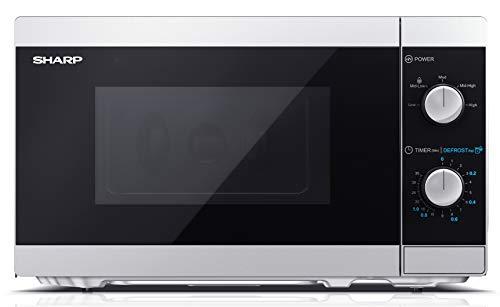 Sharp YC-MS01ES - 20-Liter-Mikrowellenherd mit Abtaufunktion, 5 Leistungsstufen, 800 W Mikrowellenleistung, Timer, Silber / Schwarz