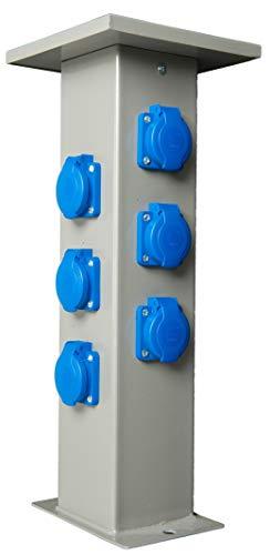 Baustromverteiler Steckdosensäule 6 x 230V Schuko Außensteckdose Gartensteckdose Energiesäule IP44