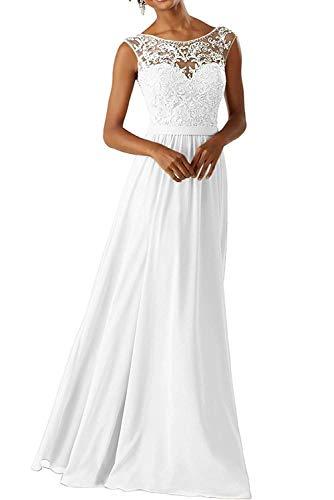 YASIOU Hochzeitskleid Elegant Damen Chiffon Lang Glitzer Spitze Vintage Weiß A Linie Empire Herzausschnitt Brautkleid Standesamt