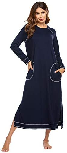 Ekouaer Nightgowns for Women Cotton Soft Long Sleeve Long Women Sleepwear Nightdress Navy Blue product image