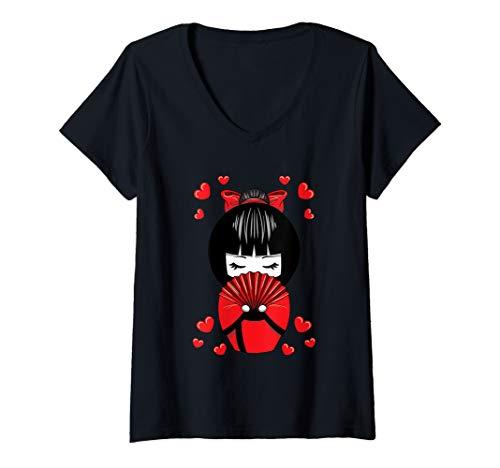 Damen Kawaii Kokeshi Geisha Puppe mit Herzen Valentinstag T-Shirt mit V-Ausschnitt
