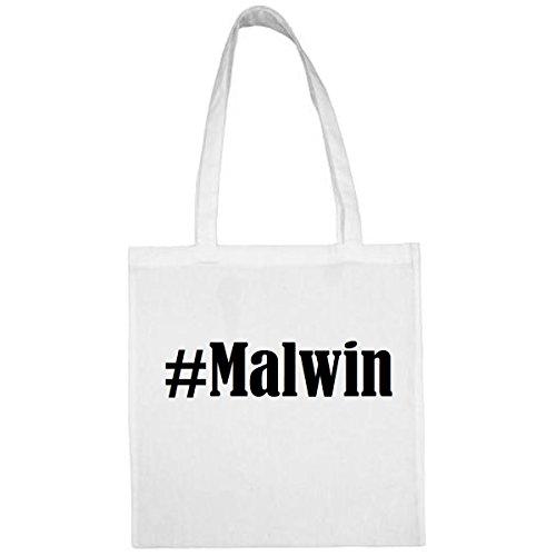 Tasche #Malwin Größe 38x42 Farbe Weiss Druck Schwarz