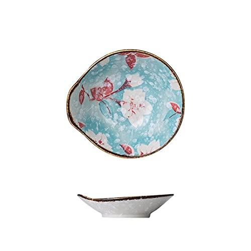 Vajilla de cocina Platos Cerámica Plato de cena de estilo japonés Ensalada Plato para servir filete de sushi Plato para salsa de flores azules Vajilla Platos para servir Cena Platos para ensalada de p