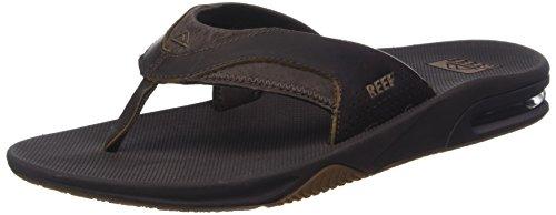 Reef Men's Sandals Leather Fanning | Bottle Opener Flip Flops for Men, Brown, 13