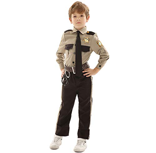 Forever Young UK Disfraz de policía para niños Disfraz de Sheriff Disfraz de Oficial de policía del Sheriff Disfraz de Fiesta Escolar de Halloween Día del Libro (7-8 años)