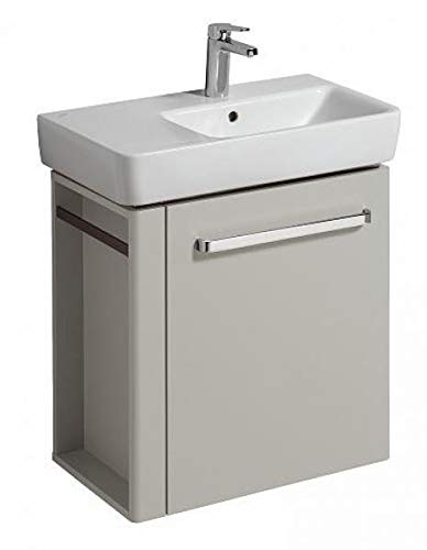 Keramag Geberit Meuble sous-lavabo Renova Nr. 1 Comprimo Nouveau, Porte-Serviettes Gauche, 590x604x337mm Gris Clair Mat/Gris Clair Brillant Gris Clair - 862266000