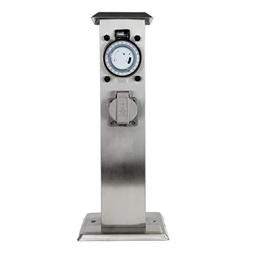 Grafner Edelstahl Gartensteckdose mit Timer/Zeitschaltuhr, 2 Steckdosen, eckig, Energiesäule Mehrfachsteckdose Outdoor Metall