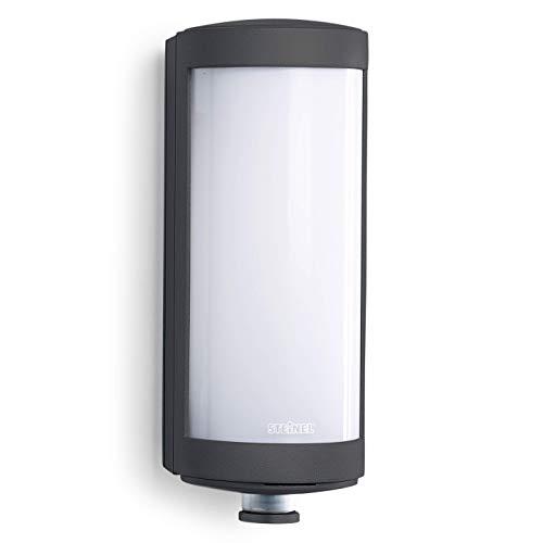 Steinel Außenwandleuchte L 626 LED Wandleuchte mit 360° Bewegungsmelder, Softlichtstart, Dauerlicht, Aluminium, 9 W, Anthrazit [Energieklasse A++]