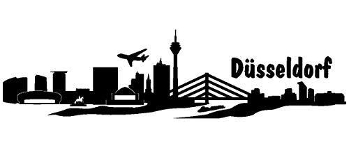 Samunshi® Wandtattoo Düsseldorf Skyline verschiedenen Größen und Farben lieferbar in 8 Größen und 25 Farben (70x18,2cm schwarz)