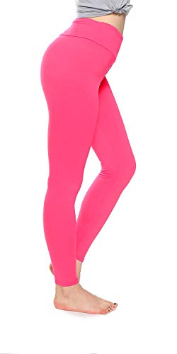 QYQ High Waisted Leggings -10+Colors -Soft Slim Pants for Women w Hidden Inner Pocket, Reg&Plus Size (Pink, One Size)