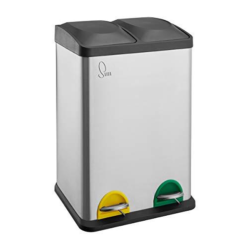 SVITA TC2X20 Küchen-Eimer 40Liter 2x20L Edelstahl doppelt Abfalleimer 2er-Mülleimer Mülltrennung Treteimer