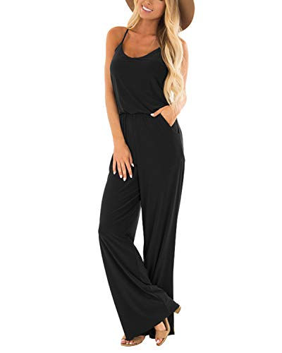 VONDA - Tuta da donna a maniche lunghe, scollo a V, a vita alta, senza schiena, sexy, con pantaloni B-nero XXL