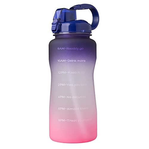 Botella de Agua Motivacional Grande de 1 Galón con Pajita, a Prueba de Fugas Tritan BPA Free Fitness Sports Water Jar con Marcador de Tiempo Para Garantizar Que Beba Suficiente Agua,Purple/Pink-2L