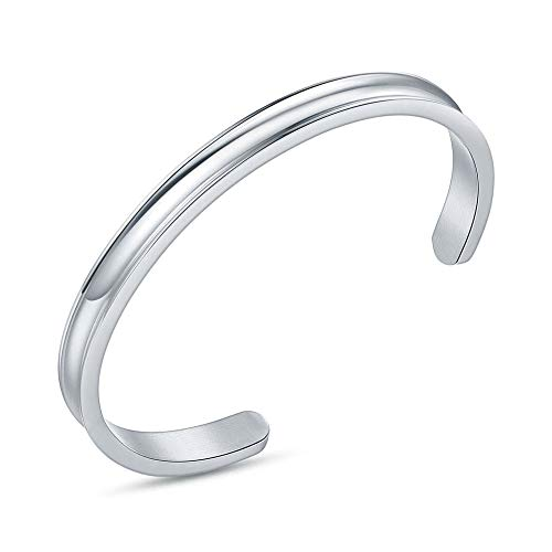 Hair Tie Bracelet Christmas Gifts for Women Stainless Steel Grooved Cuff Bangle for Women Girls Under 10 Dollars