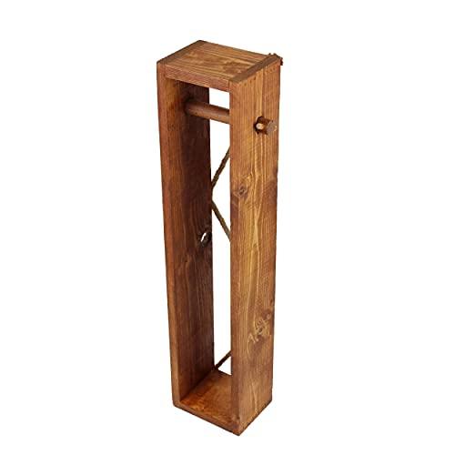 Toilettenpapierhalter mit kleinen Mängeln   Toilettenpapier Aufbewahrung ohne Bohren aus Holz   Klopapierhalter WC-Ständer   Deko für Badezimmer (Rustikal, 65 x 14,5 x 11 cm)