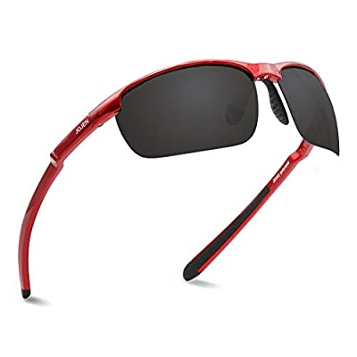 JOJEN Polarized Sports Sunglasses for men women Baseball Running Cycling Fishing Golf Tr90 ultralight Frame JE001(Red Frame Grey REVO Lens 02)