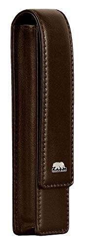 Brown Bear Echtleder Schreibgeräte-Etui Leder Braun für 1 Stift Echt-Leder Farbe Mocca mit Magnet-Verschluss hochwertig Stift-Halter Stift-Etui Stift-Tasche BB Golf 80-1 mbr