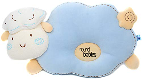 Round Babies Flat Head Prevention Pillow for Sleeping, Naptime & Diaper Changing - Breathable Ultra Soft Cotton & Easy Machine Wash (Soft Blue)