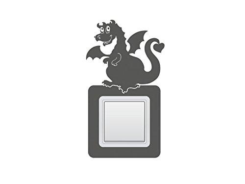 Schalter-Steckdosentattoo Drachen Nr 1 Wandschalter Kinderzimmer Lichtschalter Aufkleber Farbe Dunkelrot, Größe 17x19 cm | zweier Querformat
