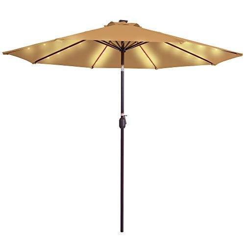 Sundale Outdoor Solar Powered 32 LED Lighted Patio Umbrella Table Market Umbrella with Crank and Push Button Tilt for Garden, Deck, Backyard, Pool, 8 Steel Ribs, 9 Feet (Tan)