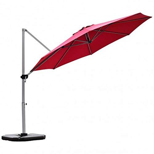 Homeura 11' Patio Offset Cantilever Umbrella 360° Rotation Aluminum Tilt-Red