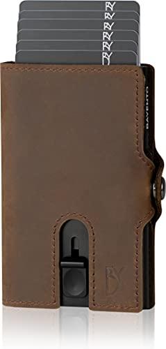 BAYENTO® Aventus Wallet – Premium Leder Geldbörse handgemacht für Herren und Damen Portemonnaie Aluminium Kartenhalter mit Münzfach und Platz für 9 Karten mit RFID NFC Schutz Farbe|(Dunkelbraun)