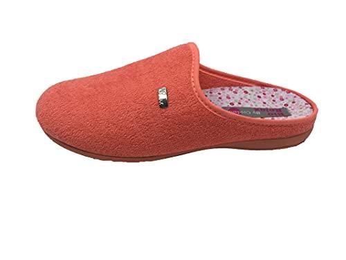 Zapatillas de estar por casa/Mujer/Biorelax/Apto plantilla ortopedica/Plantilla extraible/Empeine :Algodón Rizo/Coral/Talla 38