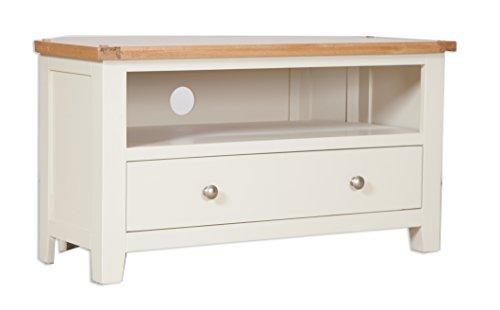Classically Modern Dorset French Ivory/Cream Painted Oak & Pine Corner Tv Unit Cabinet Living Room Furniture
