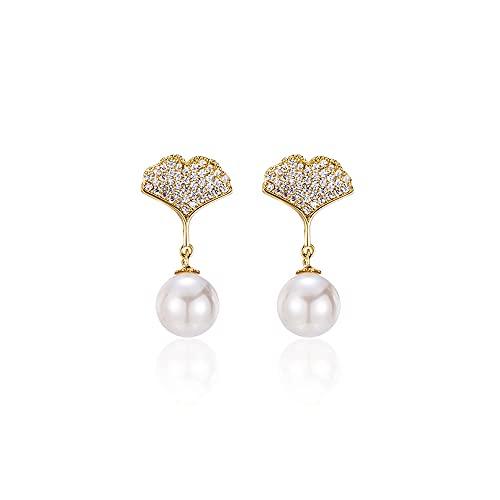 zhaohupinpai Pendientes de perlas de concha artificial cultivada de 8 mm, pendiente de perla de circonita con incrustaciones de plata esterlina S925 / hebilla de oreja, forma de hoja de ginkgo creativ