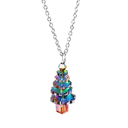 BBQQ Crystal Christmas Tree Pendant Necklace Autumn Winter Sweater Chain, Christmas Decorations Tree Ornaments Skirt Topper Lights Pajamas for Family