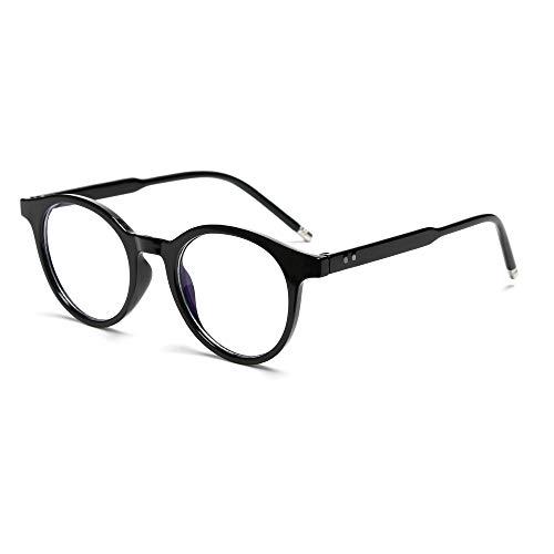 Fashion Vintage Ultraleichte runde Strahlenschutzbrille mit blauem Licht, blockierende Brille für Computerspiele, flache Spiegelbrille (schwarz)