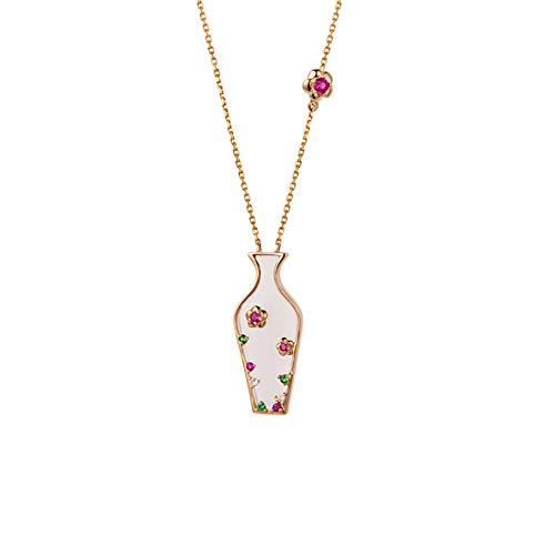 ANAZOZ Echtschmuck Damen Halskette 18 Karat Rosegold mit Rubin Vase Eingelegten Edelstein Multicolor Halskette mit Anhänger Rose Gold
