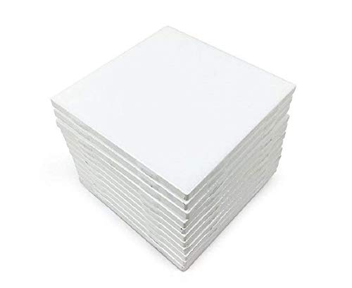 Set of 12 Glossy White Ceramic Tiles for Arts & Crafts